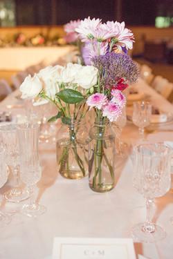 Wedding roses, glass vases