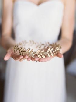 wedding hair details, floral crown