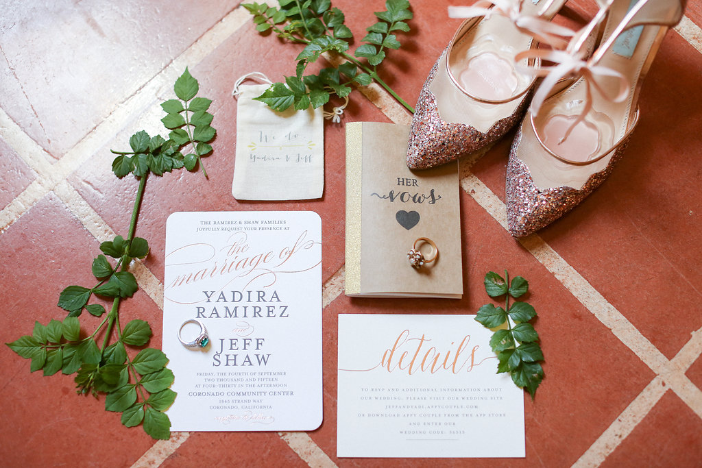 Wedding invitation, vows, rings