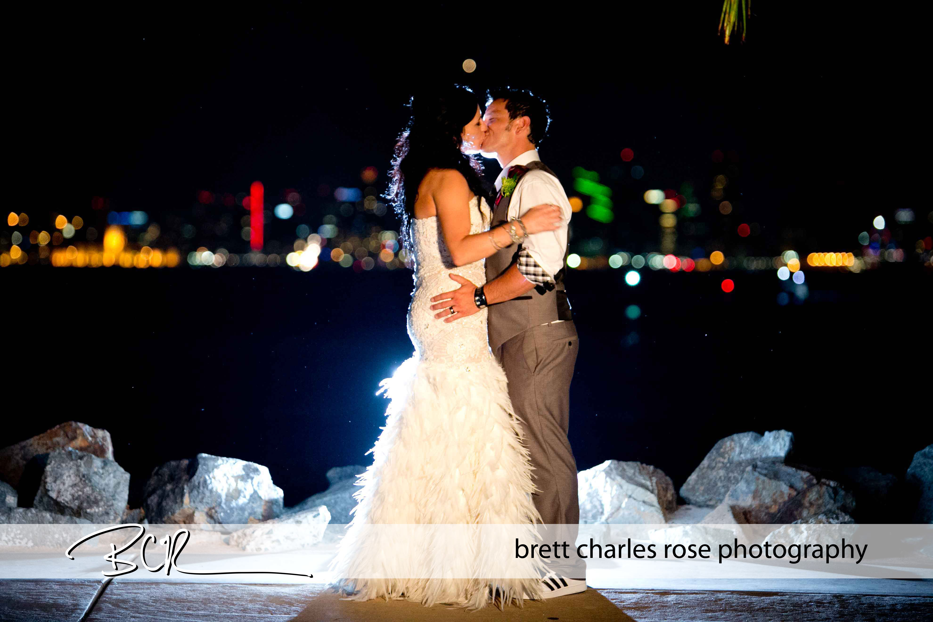 Downtown skyline, waterfront wedding