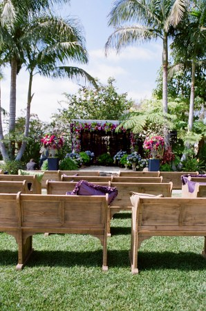 unique ceremony space, wedding bench