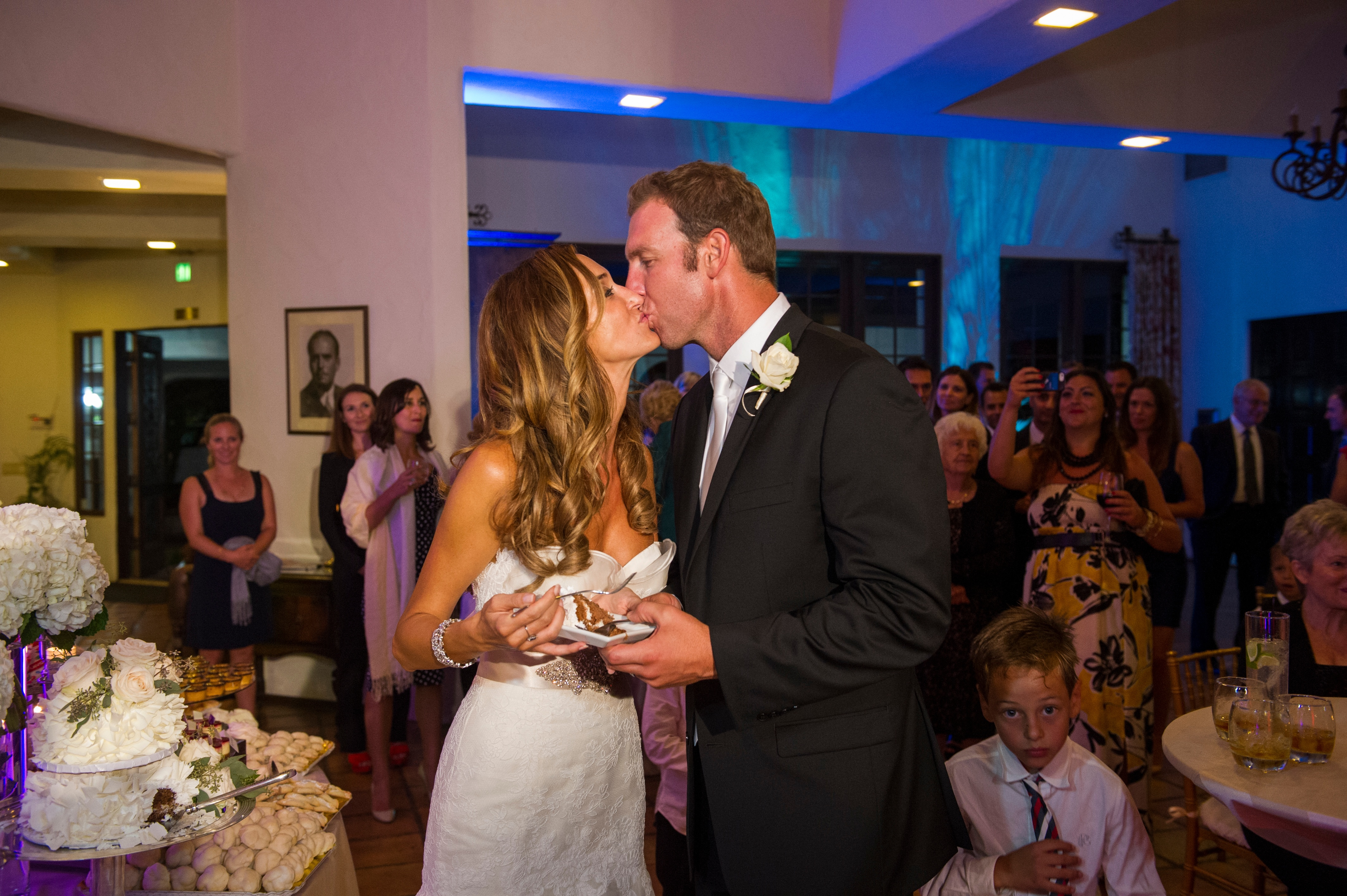 Bride and groom, first kiss