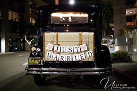 San Diego Library Wedding, vintage car