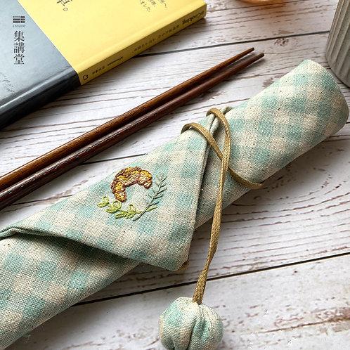 巴黎的滋味 刺繡牛角麵包環保餐具袋