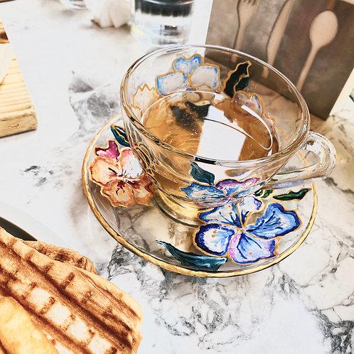 巴黎的春天-彩繪下午茶玻璃花杯組