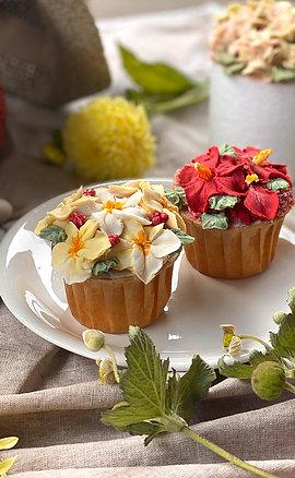 島國風情 豆沙擠花杯子蛋糕