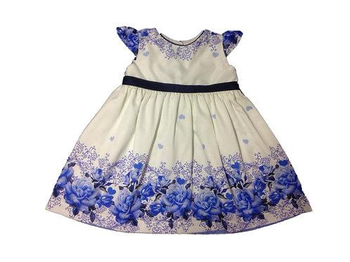 Vestido branco com barrado azul