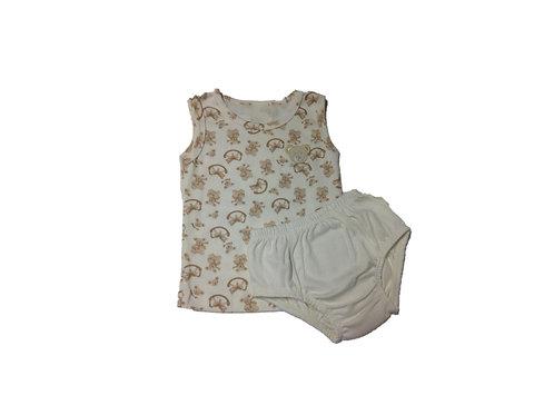Conjunto camiseta e tapa fralda ursinho