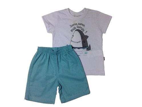 Conjunto masculino manga curta tubarão