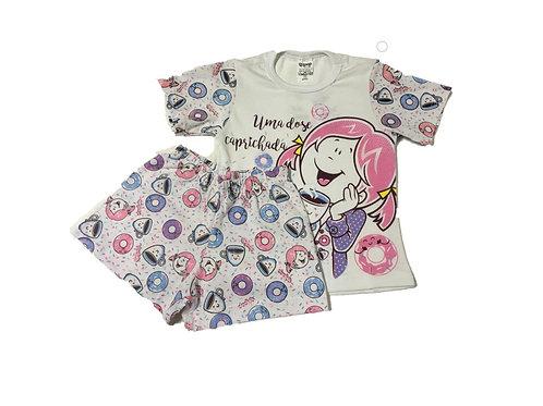 Pijama feminino manga curta e short