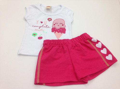 Conjunto feminino manga curta e short sorvete
