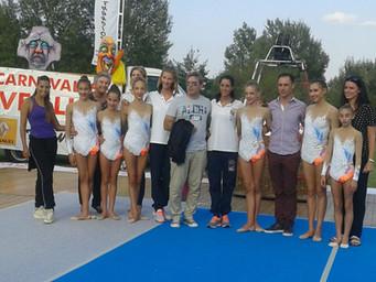 Le ginnaste dell'Estense Putinati all'inaugurazione del Ferrara Balloons Festival