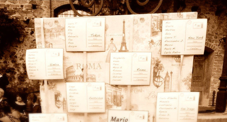 Trip Theme Wedding Table Chart - Our Italian Fairytale - Get Married In Itay
