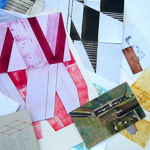 desenhos sobre matrizes de tetrapack e papel cartão