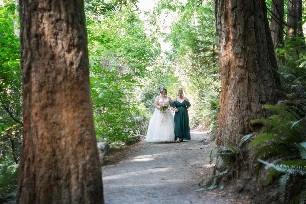 Walking to her groom in Washington Park, Portland, OR