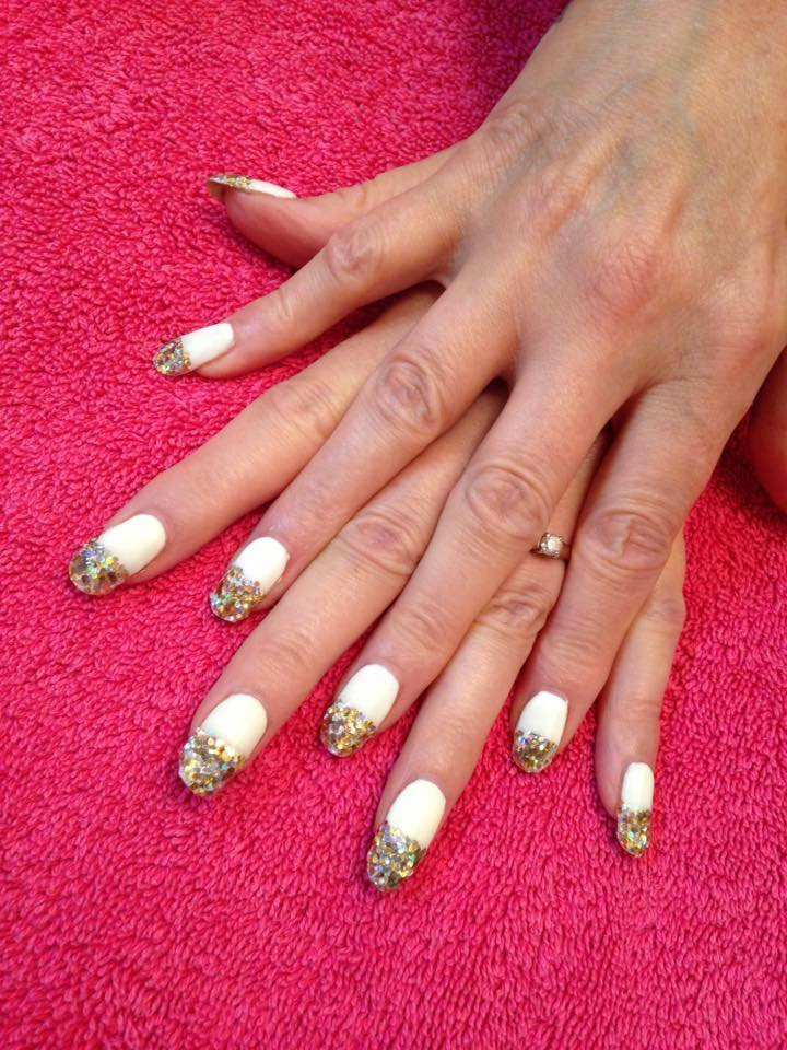 cream & gold glitter overlays