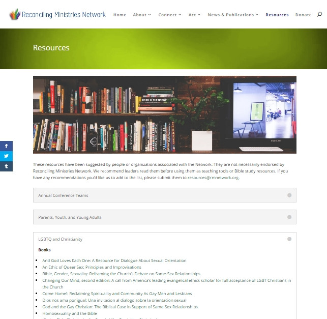 Reconciling Ministries Network Resources page screenshot