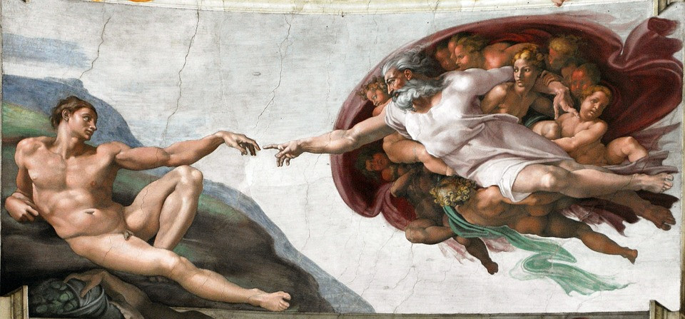 Painting by Michelangelo of God reaching to touch the hand of naked man