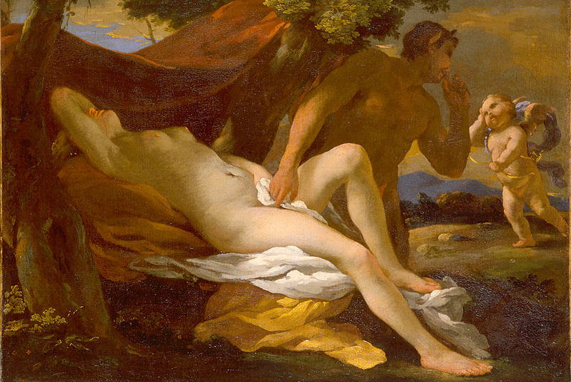 Painting by Nicolas Poussin 'Jupiter and Antiope' of woman lying down with man nearby whispering to an angel.