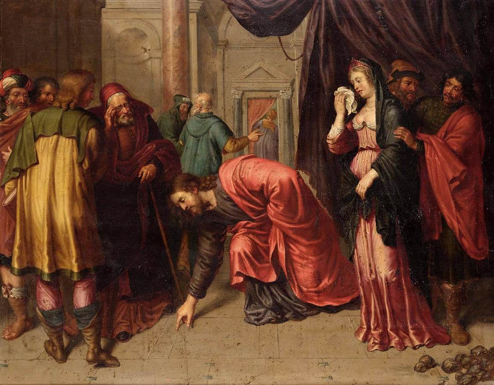 Oil painting titled Christ and the Adulterous Woman by Pieter van Lint (1609-1690)