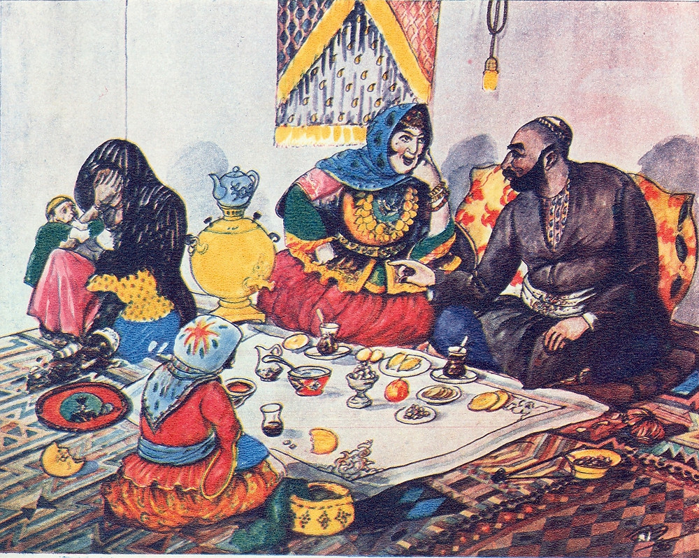Middle Eastern man with multiple wives