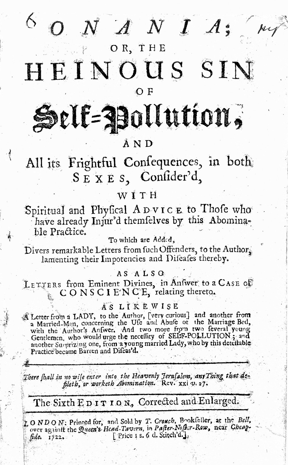 Title page of a Eighteenth century popular Pamphlet on the effects of masturbation on the health of the individual. This pamphlet was one of the first to warn against the dangers of onanism