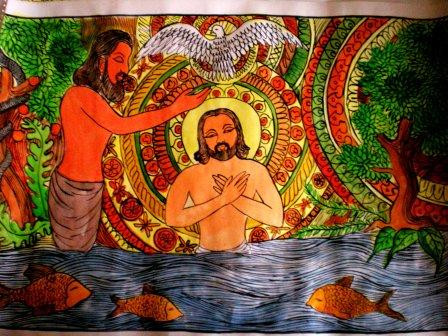 Ink and watercolor painting of Jesus' baptism by an unknown Indian artist.