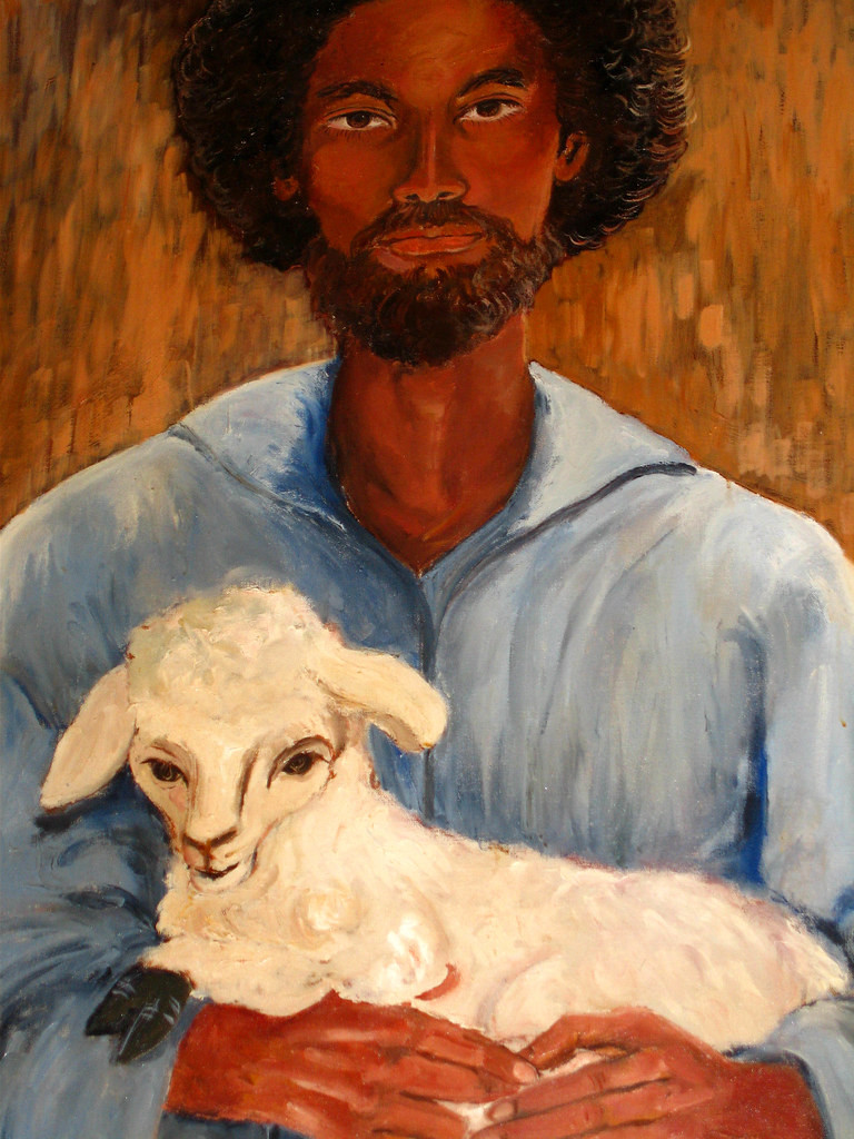 Painting of a dark-skinned, bearded Jesus with a lamb, from Grace Memorial Presbyterian chapel.