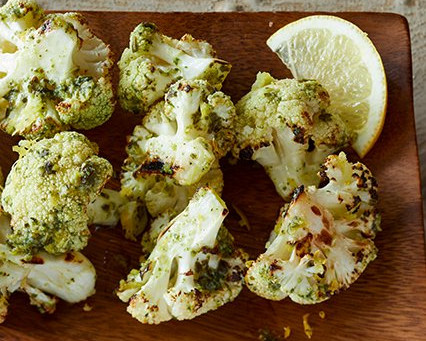 Lemon Roasted Pesto Cauliflower