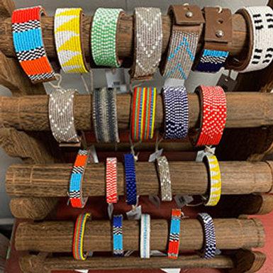Swahili Coast Beaded Leather Cuffs