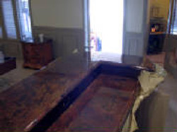 Two level concrete counter top