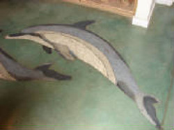 Stained concrete with dolphin design