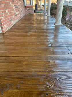 Stamped and stained wood plank concr