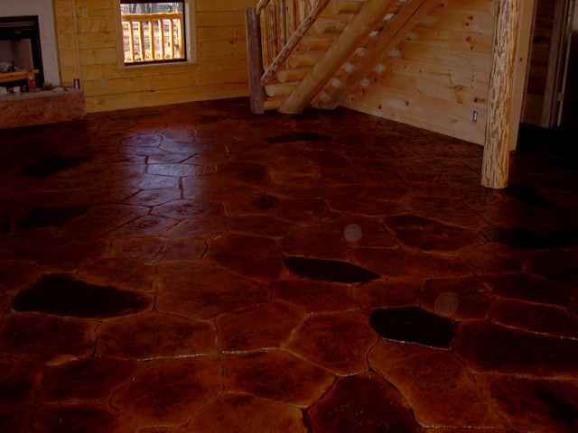Stamped and Stained Log Home
