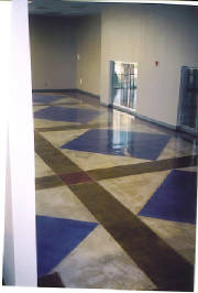 Blue concrete stain design