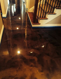 Metallic epoxy interior flooring