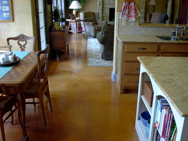 Tan concrete floor