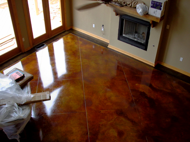 Brown Acid Stained Floor