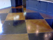 Checkerboard Stained Concrete Design