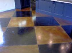 Checkerboard Stained Concrete Design