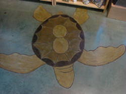 Stained concrete sea turtle