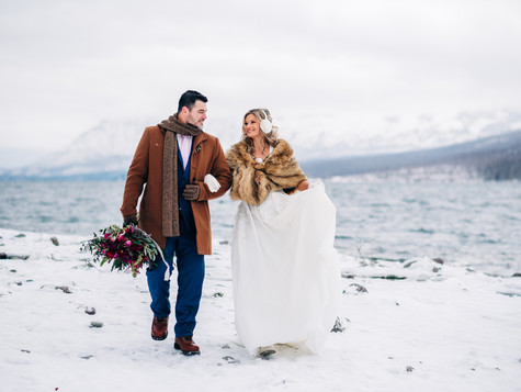 Snowy Lake McDonald Lodge Elopement