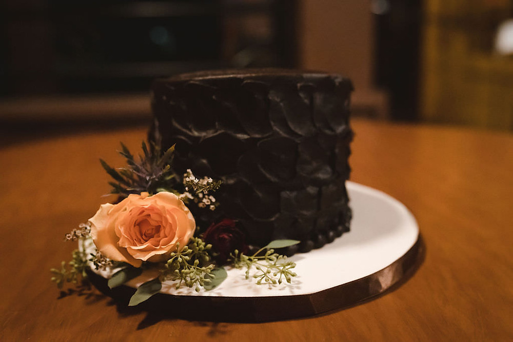 Single Tier Chocolate Wedding Cake with Peach Floral - Miss Patti Cakes, MT