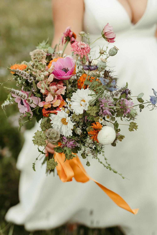 Orange and Pink Wildflower Bouquet