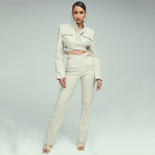Two -piece leatherette suit