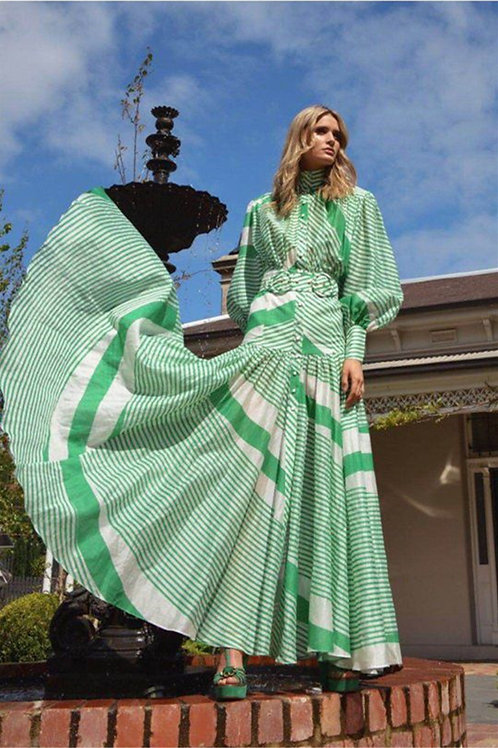 Mint striped belted bohemian style maxi dress