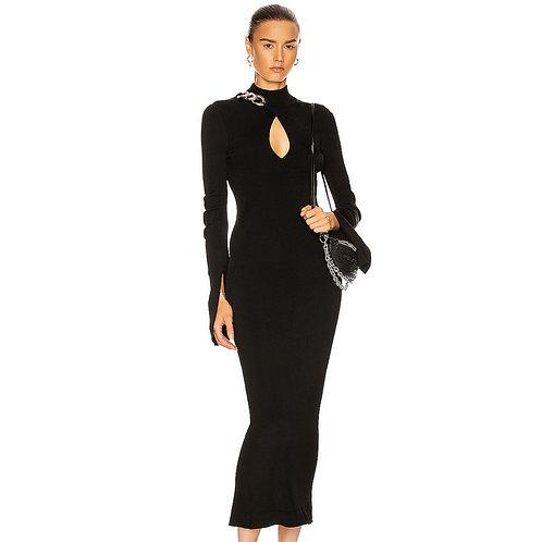 Black maxi dress with chain embellishment