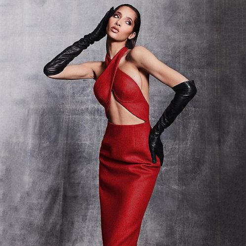 Midi Bandage Dress-Red