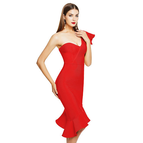 Asymmetrical Cut Midi Dress
