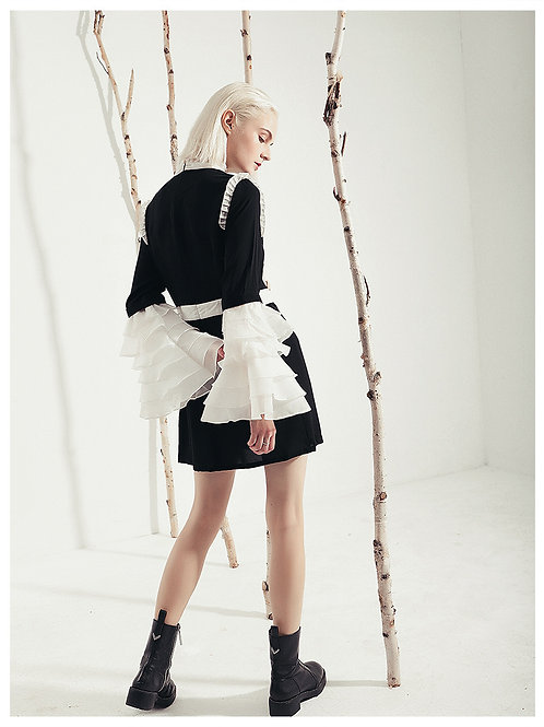 Multilayered Puff Sleeve Mini Dress